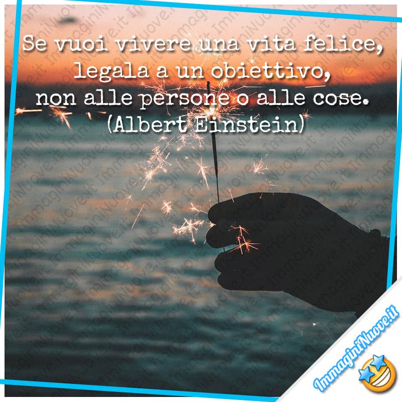 Se vuoi vivere una vita felice, legala a un obiettivo, non alle persone o alle cose. (Albert Einstein)