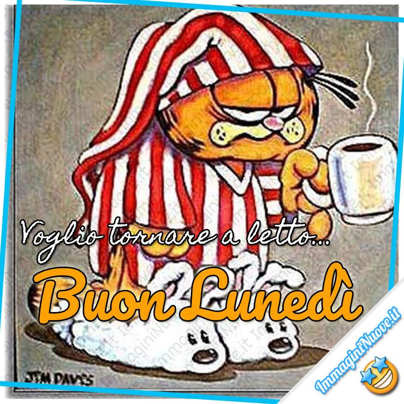 Voglio tornare a letto... Buon Lunedì (immagini divertenti con Garfield)