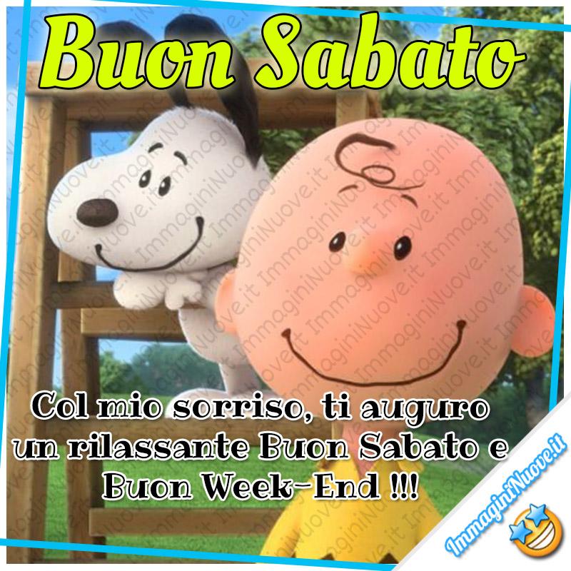 Buon Sabato, col mio sorriso ti auguro un rilassante Buon Sabato e un Buon Weekend !