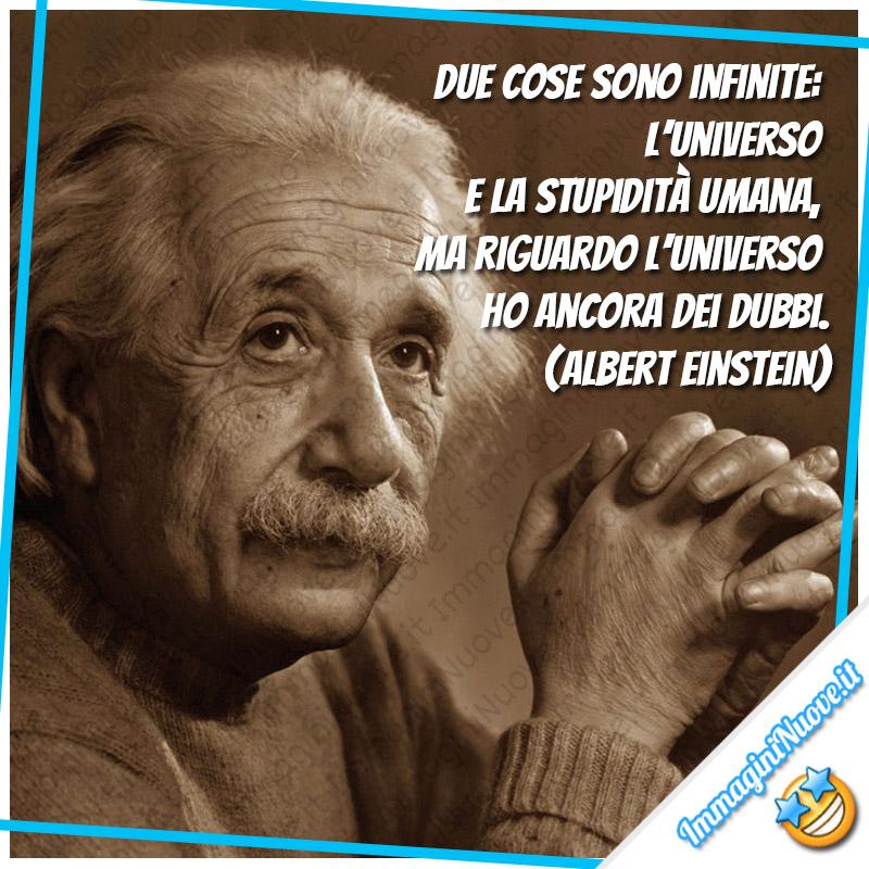 Due cose sono infinite: l'universo e la stupidità umana, ma riguardo l'universo ho ancora dei dubbi. (Albert Einstein)