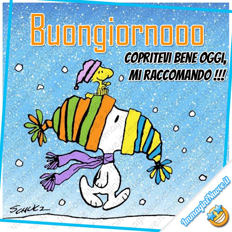 """Snoopy - """"Buongiornoooo copritevi bene oggi, che fa freddo !!!"""""""