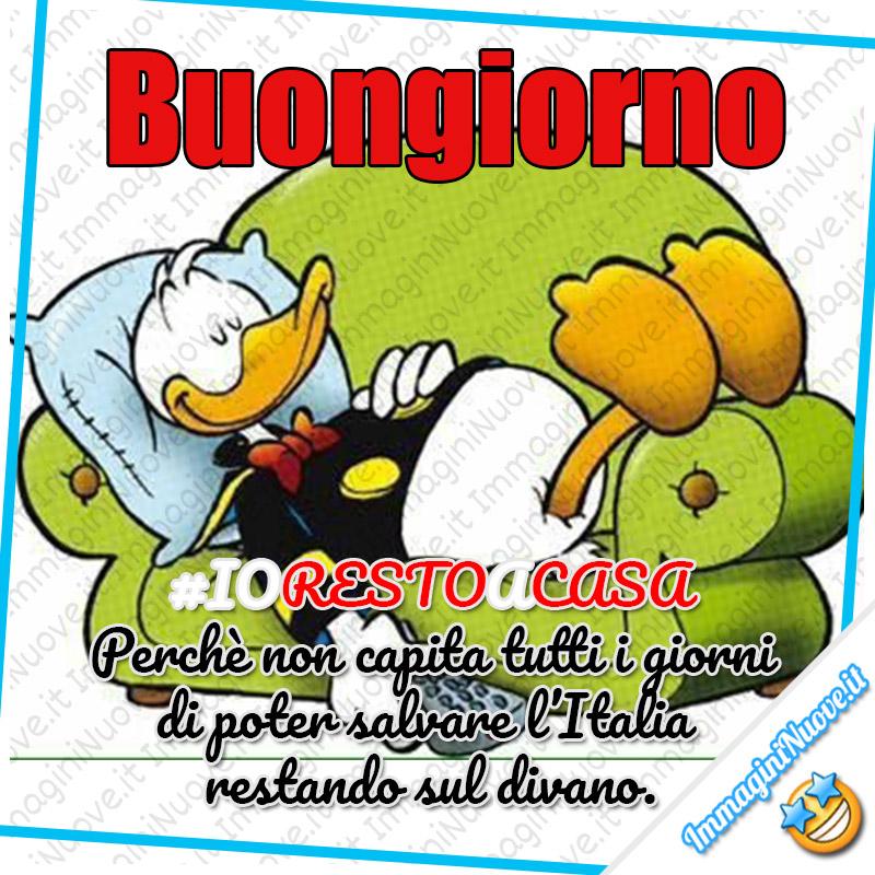 """#IoRestoACasa - """"Buongiorno. Io Resto A Casa. Perchè non capita tutti i giorni di poter salvare l'Italia restando sul divano."""""""