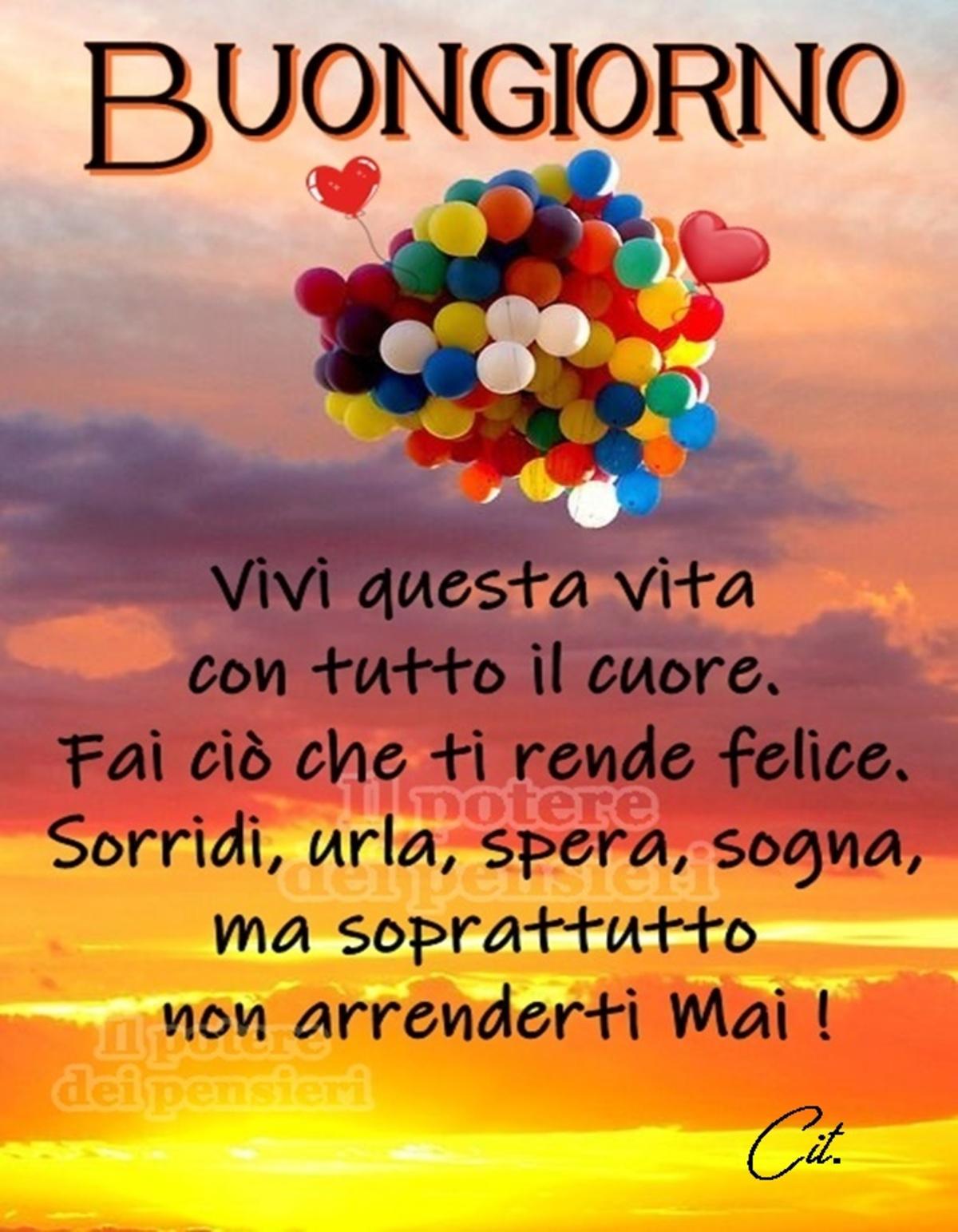 Buongiorno. Vivi questa vita con tutto il cuore. Fai ciò che ti rende felice. Sorridi, urla, spera, sogna, ma soprattutto non arrenderti mai!